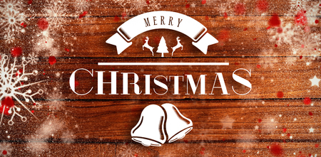 Merry christmas message against overhead of wooden planks