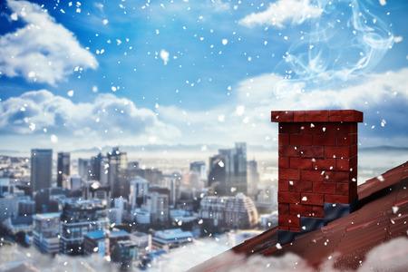3D Snow against city