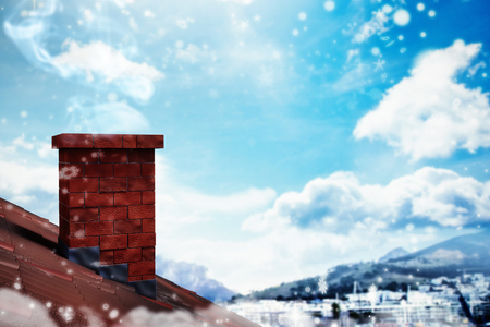 3D Snow falling against city with harbour Stock Photo