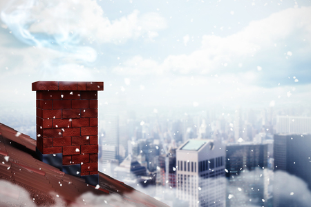 ice brick: 3D Snow against city skyline Stock Photo