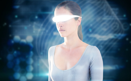 3D Beautiful woman using virtual video glasses against shiny lines on black background