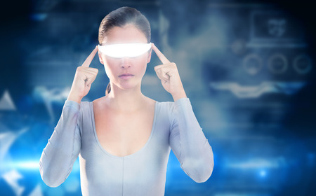 3D Woman using virtual video glasses against glowing technological background