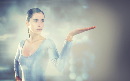 3D Young woman gesturing against white background against grey vignette
