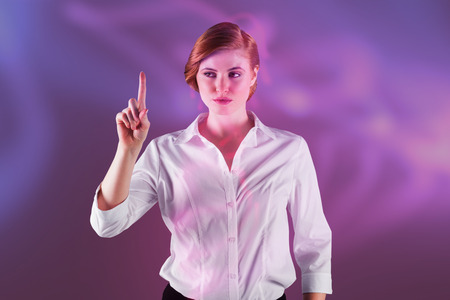 3D Businesswoman standing and pointing against futuristic shiny black background