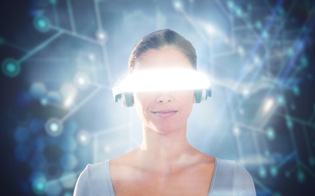 3D Beautiful young woman using virtual video glasses against black background with glowing network