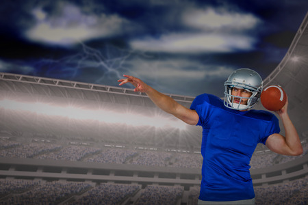 3D American football player about to throw the ball against road against overcast sky with lightning