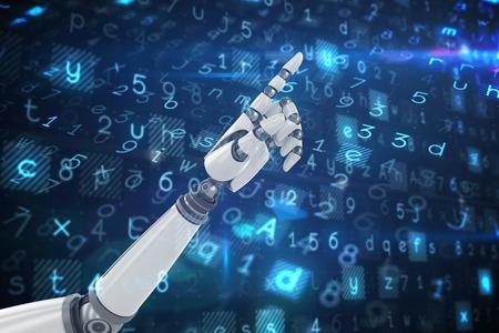 mano robotica: 3D apuntando robótica de la mano contra el fondo de virus