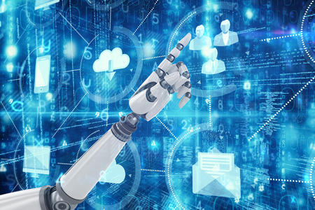 mano robotica: 3D apuntando robótica de la mano contra la computación en la nube y los iconos Foto de archivo