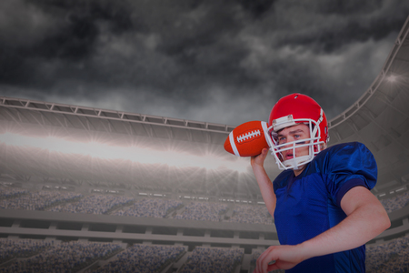 3D American football player throwing the ball against digital composite image of stormy clouds