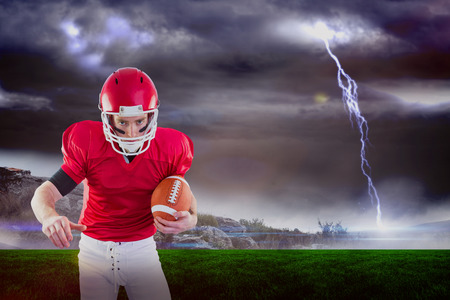 3D Portrait of focused american football player being ready to attack against stormy landscape with lightning bolt