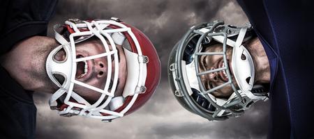 3D American football huddle against gloomy sky