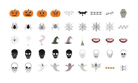 Vector icon set for halloween on white background Illustration