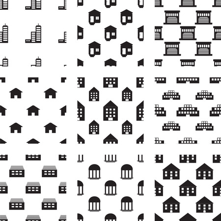 conservatory: Vector icons set for building on white background