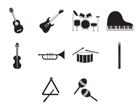 triangle musical instrument: Musical instrument icons vector signs on white background Illustration