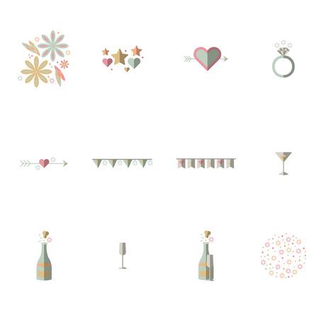 champagne flute: Vector set of celebration on white background