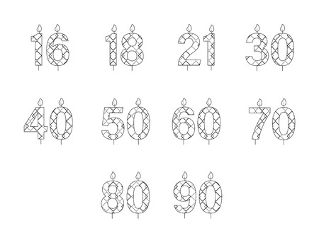 numbers icon: Vector icon set for birthday candles in numbers on white background