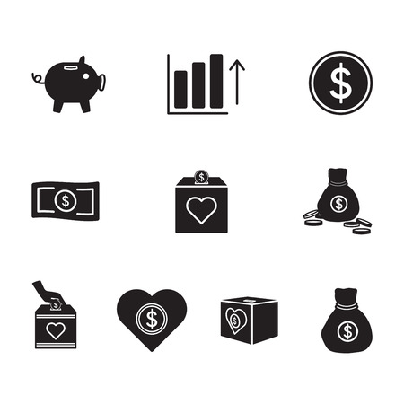 budget repair: Vector icon set for banking on white background