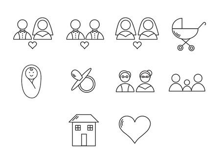 Vector set icons set for wedding cycle on white background Illustration