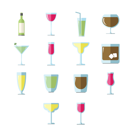 Vector icon set for drink glasses on white background Illustration