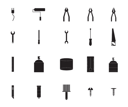 vices: Vector icon set for painting tools on white background