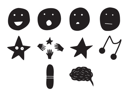 Vector icon set for human emotions on white background
