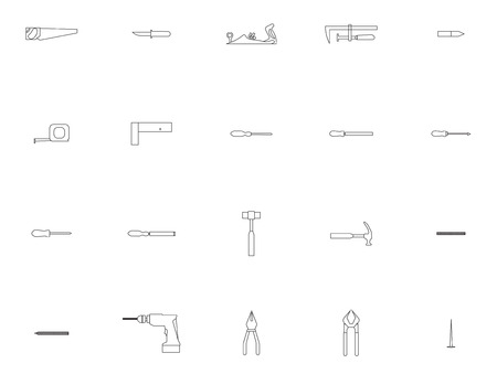 Vector icon set for carpentry tools and equipment on white background