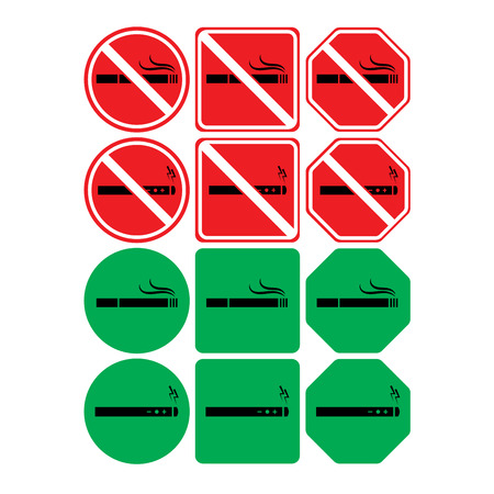 Vector icon set of no smoking and smoking allowed on white background Illustration