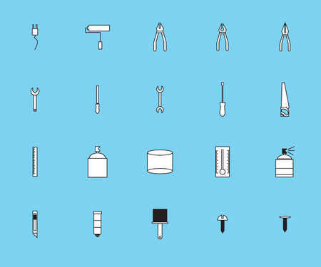 vices: Vector icon set for painting tools on blue background