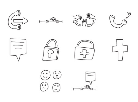 Vector icon set for hospital on white background  イラスト・ベクター素材