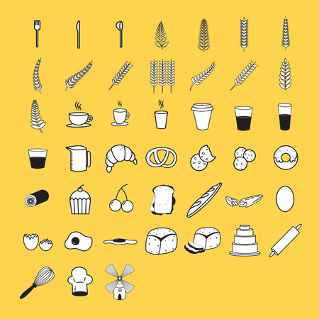 Vector icon set for breakfast and food on white background