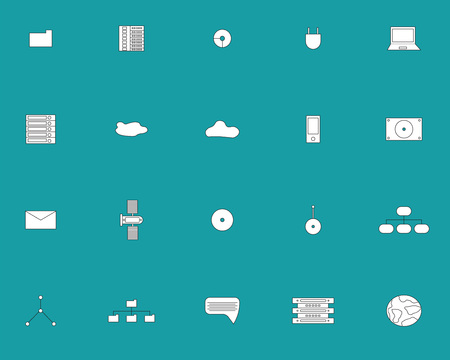 plug hat: Vector icon set of electronic equipment and network on turquoise background