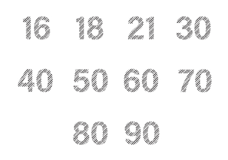 numbers icon: Vector icon set for patterned numbers on white background