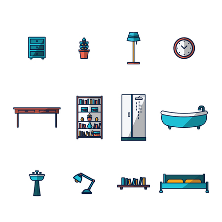 cor: Vector icon set for furniture and home décor on white background