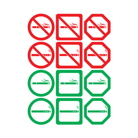 artistic addiction: Vector icon set of no smoking and smoking allowed on white background Illustration