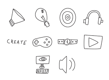 handheld device: Vector icon set for video games on white background