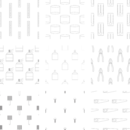 bottle screw: Vector icon set of carpenter tool on white background