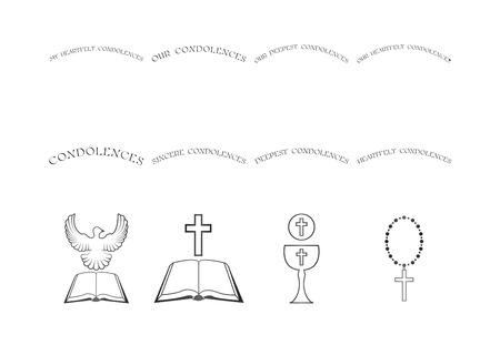 Vector conjunto de iconos religiosos cristianos en el fondo blanco Foto de archivo - 67367437