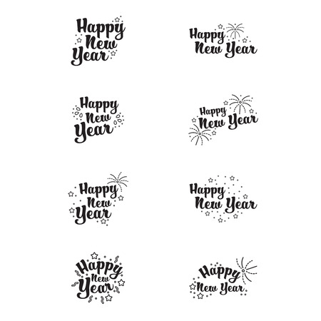 fireworks 'hope fireworks: Vector icons set of happy new year on white background
