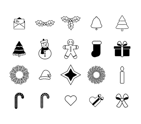 Vector icon set for christmas on white background Illustration