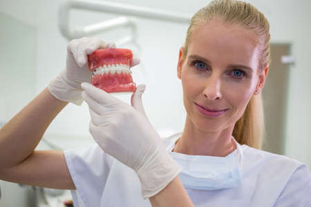 comunicacion oral: Portrait of female dentist holding a set of set of dentures in the clinic LANG_EVOIMAGES