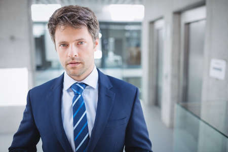 Portrait of a confident businessman standing in office LANG_EVOIMAGES