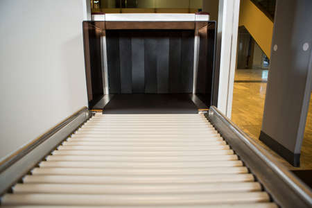 conveyer: Close-up of airport conveyer belt in airport terminal