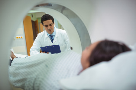 operative: Patient undergoing CT scan test in the hospital
