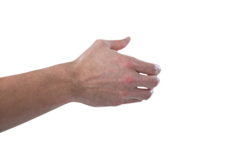 invisible object: Hand of man pretending to hold an invisible object against white background