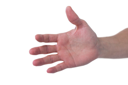 invisible: Hand of man pretending to hold an invisible object against white background