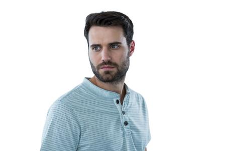 against white: Serious man against white background Stock Photo