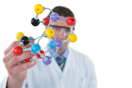 experimenting: Scientist experimenting molecule structure against white background Stock Photo