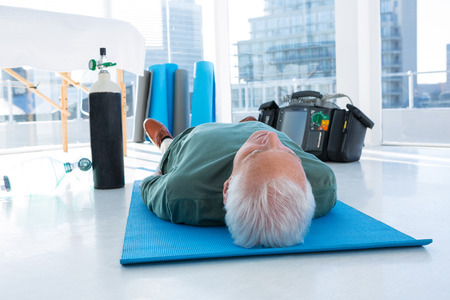chest compression: Patient lying on the mat for resuscitation treatment in the clinic Stock Photo