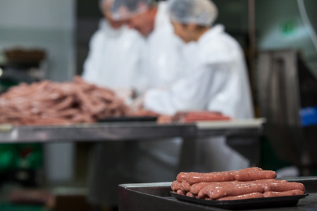Close-up of raw sausages arranged on tray at meat factory
