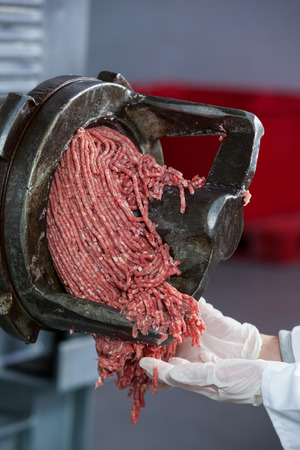 Minced meat coming out from grinder at meat factory